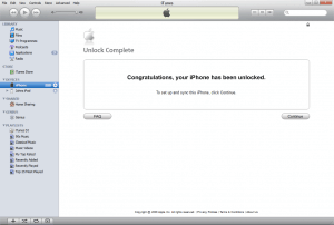 unlocked phone message in iTunes