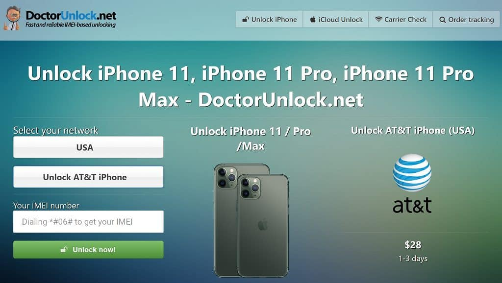 Unlocking iPhone 11 with IMEIDoctor.